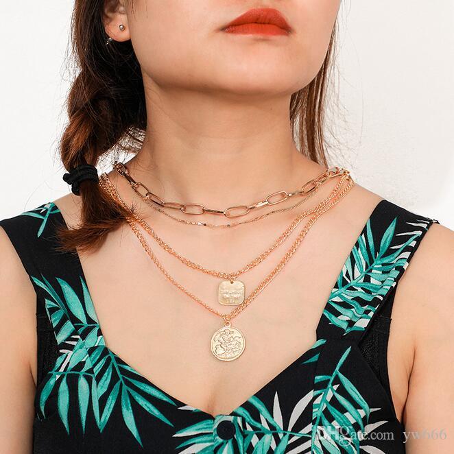 Europäische und amerikanische grenzüberschreitende neue Schmuck Retro-Porträt Münze Anhänger Halskette Übertriebene geometrische Legierung mehrschichtige Halskette