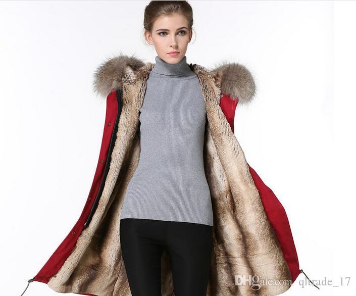 Venda quente marca MEIFENG guarnição da pele marrom marrom branco listrado forro de pele de coelho vermelho longo parkas mulheres casacos de lona de pele de coelho casacos de neve