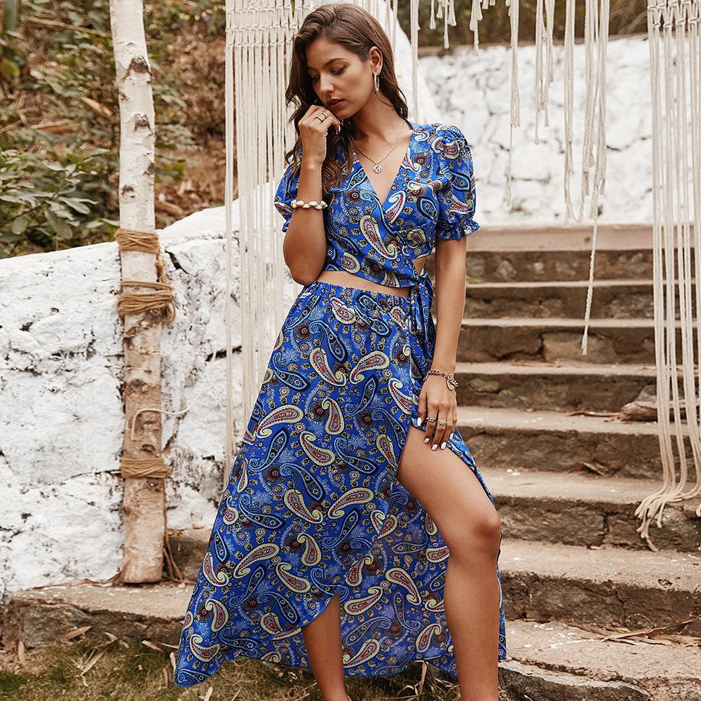 fashion design original europeus e americanos verão 2020 do sexo feminino novo half-length vestido sexy com decote em V a impressão de moda de lazer terno
