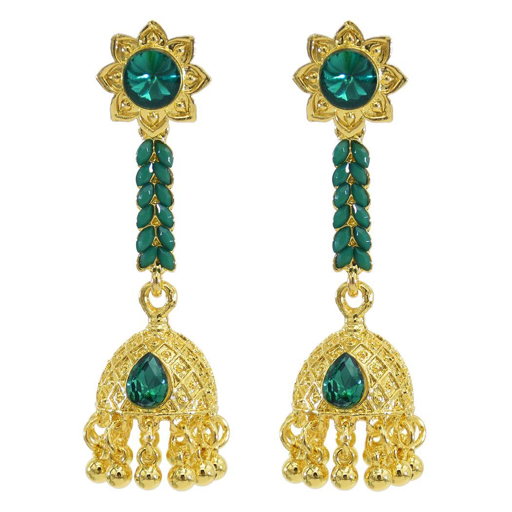 Indiano Jhumka orecchini dell'annata del metallo dell'oro di cristallo variopinta Bells orecchini di goccia Gypsy partito nappa lunga Orecchini