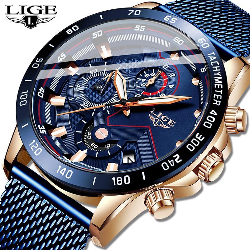 LIGE della moda di New Mens orologi di marca dell'orologio di lusso del quarzo blu orologio uomini della vigilanza impermeabile del cronografo di sport Relogio Masculino T200113