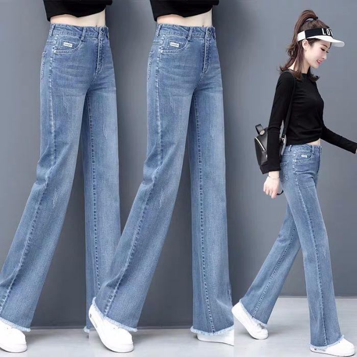 pantalones vaqueros de cintura alta 2020 nueva versión coreana del verano pantalones vaqueros de los salvajes sueltos sueltos de las mujeres delgadas rectas pantalones anchos de la pierna