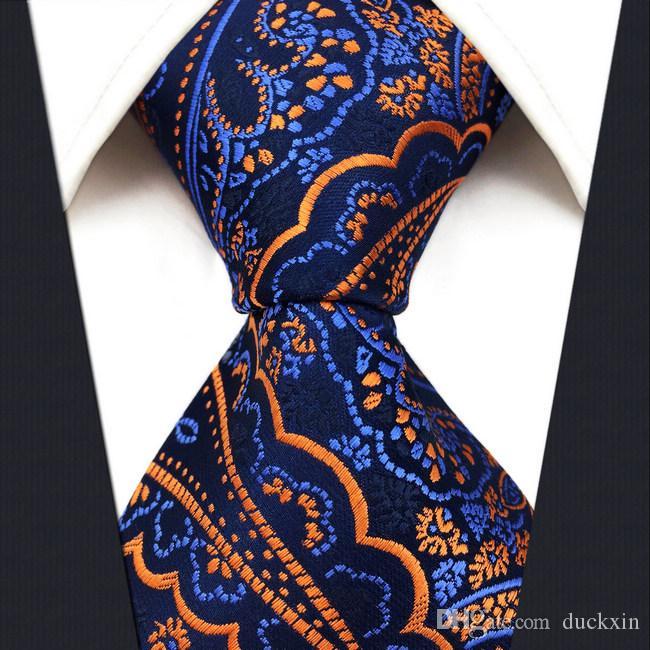 Q8 꽃 푸른 골든 옐로우 로얄 블루 남성 넥타이 넥타이 100 % 실크 자카드 직물