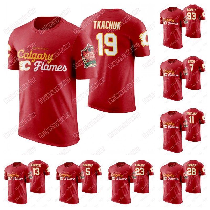 Calgary Flames 2019 Patrimonio camiseta clásica Mateo Tkachuk Sean Monahan Sam Bennett Johnny Gaudreau Mikael Backlund Lanny McDonald Jersey