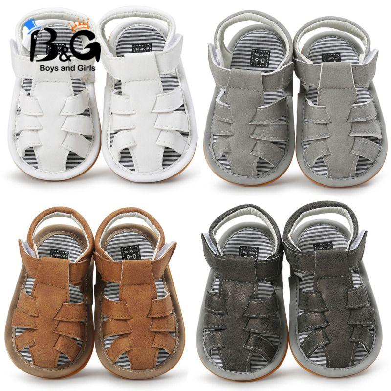 BG 여름 4 색 아기 샌들 아기 신발은 2020 년 유아 통기성 플라스틱 바닥 가죽 샌들을 비 슬립