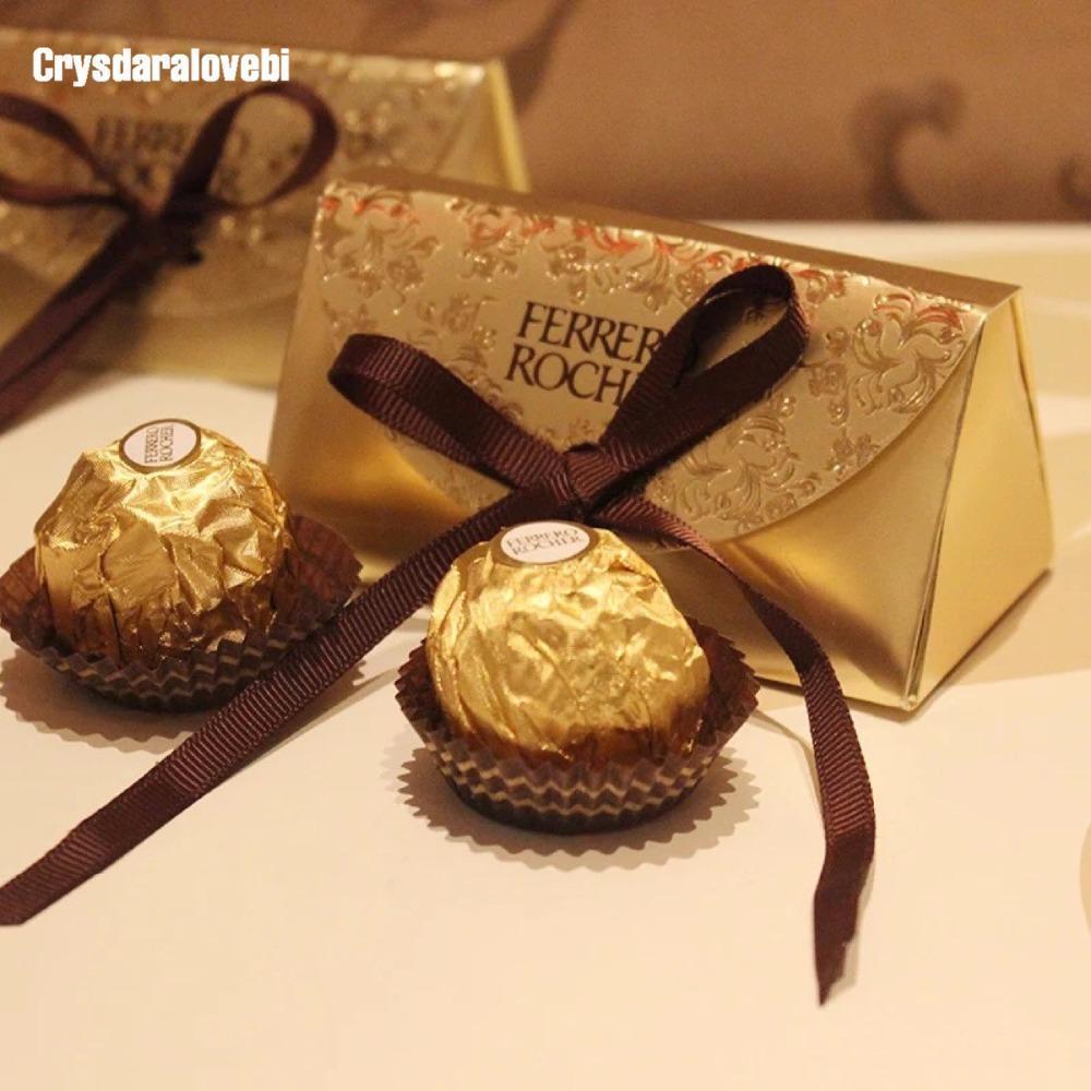 100pcs Papier Faveurs et Mariage Baby Douche Rocher Candy Fournitures de mariage Faveurs Boîtes Boxes Cadeaux Cadeaux Sweet Cadeaux Sacs Ferrero Relag