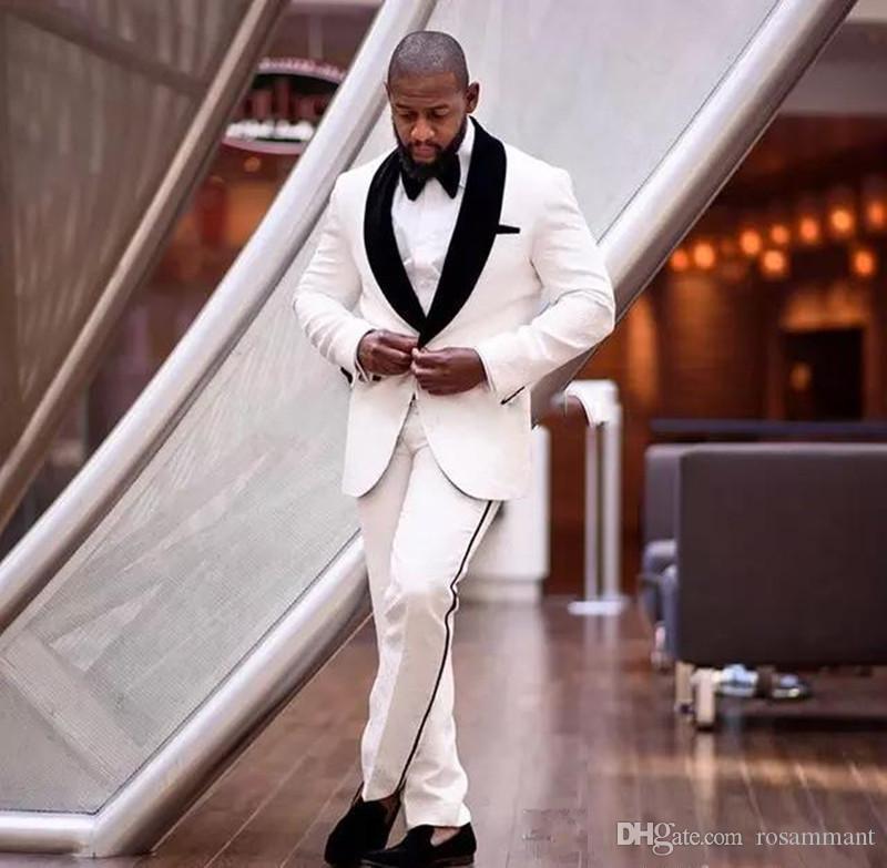 Новый сшитое цвет слоновой кости и черного Зубчатый отворот Ницца Мужчины Формальная свадебные костюмы Жениха Tuxedos Классический Fit Groom одежды Set