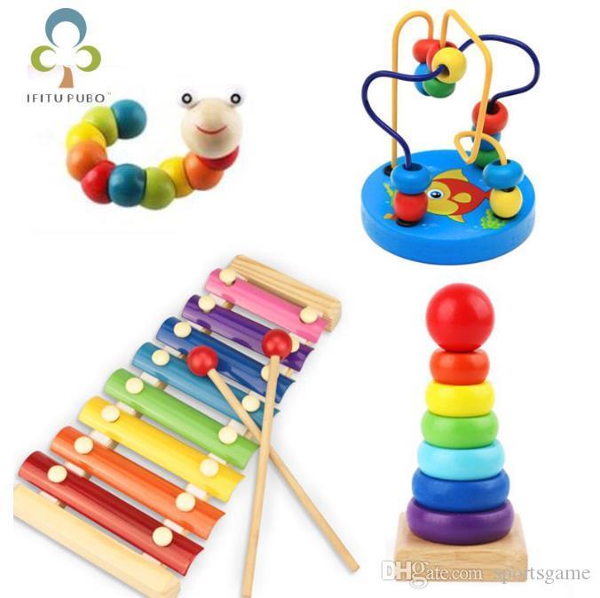 التعلم في مرحلة الطفولة مونتيسوري ألعاب خشبية لعبة أطفال الأطفال الطفل ملونة خشبية كتل التنوير لعبة تعليمية