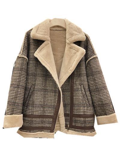 Hohe Qualität 2018 Winter neuer losen zeigen dünne und Samt karierten Mantel verdickt Lammwolle Kleidung warme Baumwollkleidung Frauen