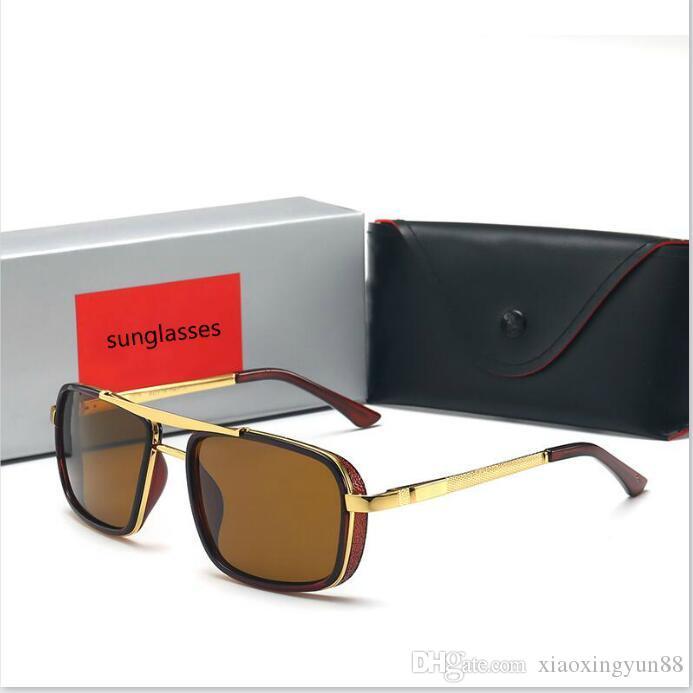 Gafas de sol piloto de alta calidad Hombres Mujeres Diseñador de la marca Gafas de conducción UV400 Gafas Gradiente de montura de metal Lente con estuche y caja marrón gratis