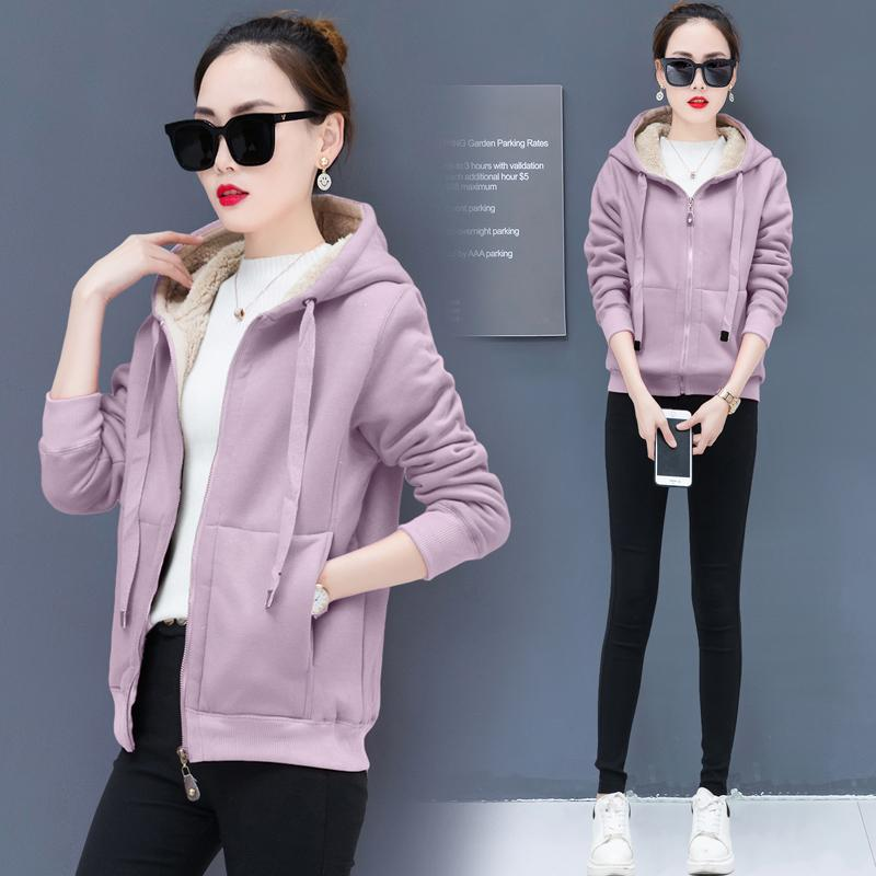Purple coat women winter hooded coats wool cashmere plus size velvet thickening large female jacket solid outerwear clothing