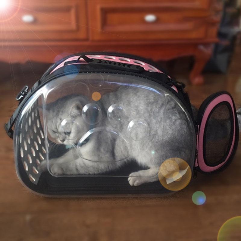 ناقل المحمولة شفافة قابلة للطي القط حزمة حقيبة الظهر الكلب العالمي السفر خارج حقيبة حزمة تنفس مربع
