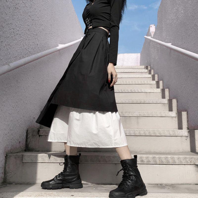 Saias vintage escuro verão mulheres punk streetwear Empire assimétrico ulzzang longo solto casual harajuku gothic stitch ins saia