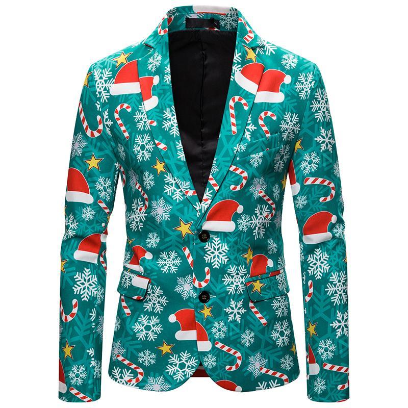 LASPERAL Blazer Hombres Traje Veste Homme 2019 nueva llegada Mens adelgazan la chaqueta de la chaqueta Escudo de navidad elegante