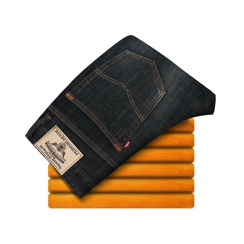 Sonbahar Ve Kış Jeans Erkek Fırçalı Ve Kalın Sıcak Günlük Pantolon Esneklik Gevşek Düz Kış MEN'S Pantolon Yüksek belli
