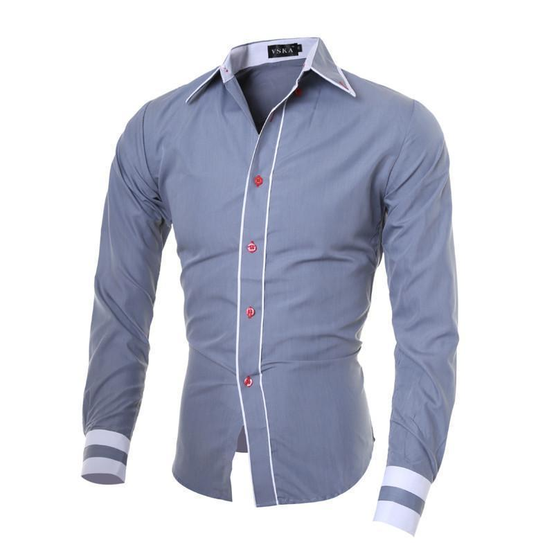 Amazing 2019 Men Shirt Brand Male High Quality Long Sleeve Shirts Casual Hit Color Slim Fit Black Man Dress Shirts 2XL C936