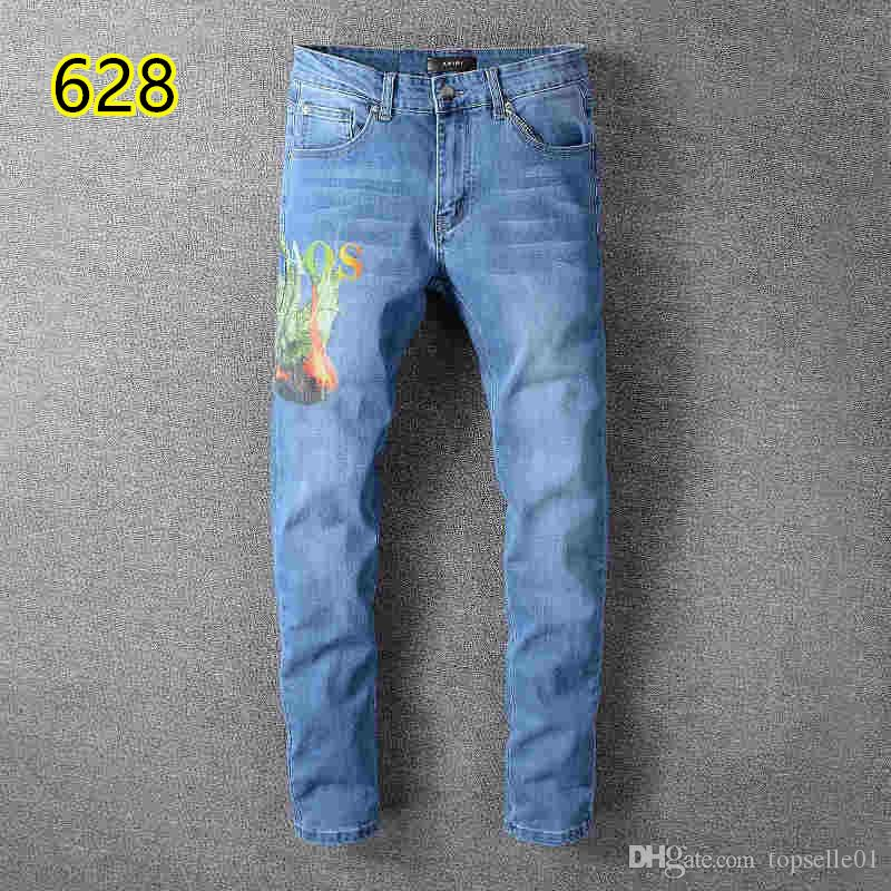 2019 top quality 022 amiri Jeans известный бренд дизайнерские джинсы мужская мода уличная одежда мужские байкерские джинсы мужские брюки