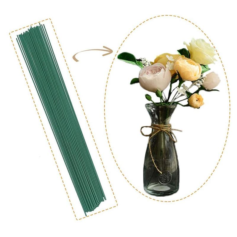 200Pcs 22 Gauge Dark Green Floral Stem Wire Crafting Floral Paper Wrapped Wire Artificial Plant Stub Stem for Flower