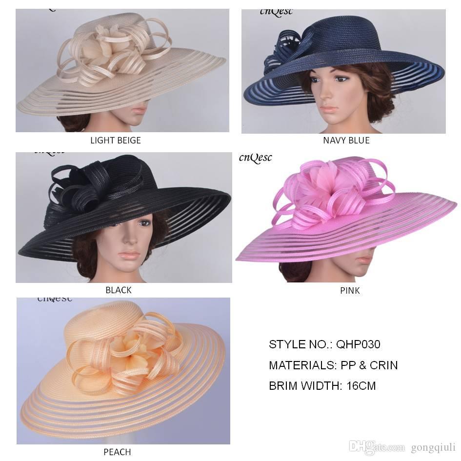 2019 NUOVO DESIGN, X LARGE tesa Cappello di paglia pp Kentucky Derby Hat Church cappello da sposa piuma fascinator hatinator per gare di gare