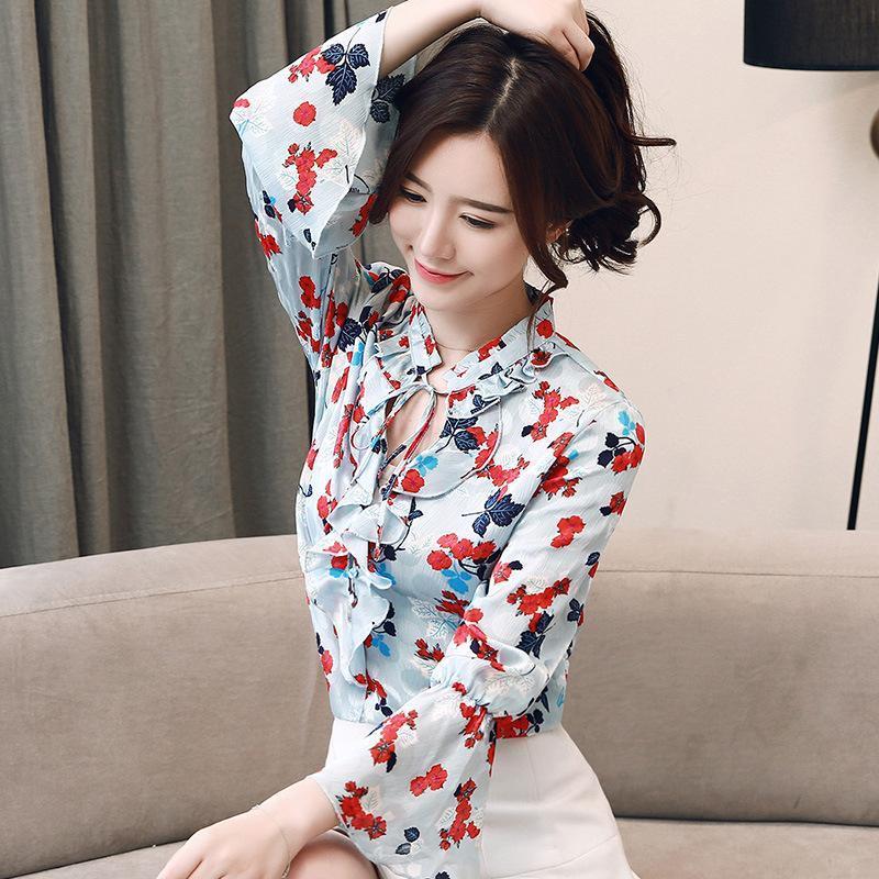Photo Shoot 2019 осень новый стиль Сладкий цветок Отпечатано с длинными рукавами рубашки Versitile Мода Белл рукавом Женские