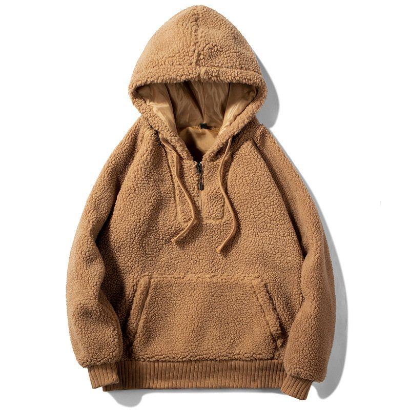 남성 후드 스웨터 가을 겨울 새로운 모직 패션 단색 남성 후드 남성 캐주얼 빅 포켓 티셔츠