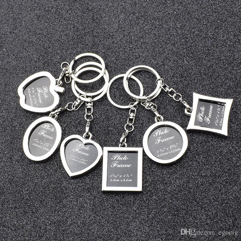 Key Chain Apple modella ovale Rhombus Photo Keychain Heart Frame rotonda della lega del metallo Portachiavi Portachiavi auto Coppie Portachiavi regalo di colore 6