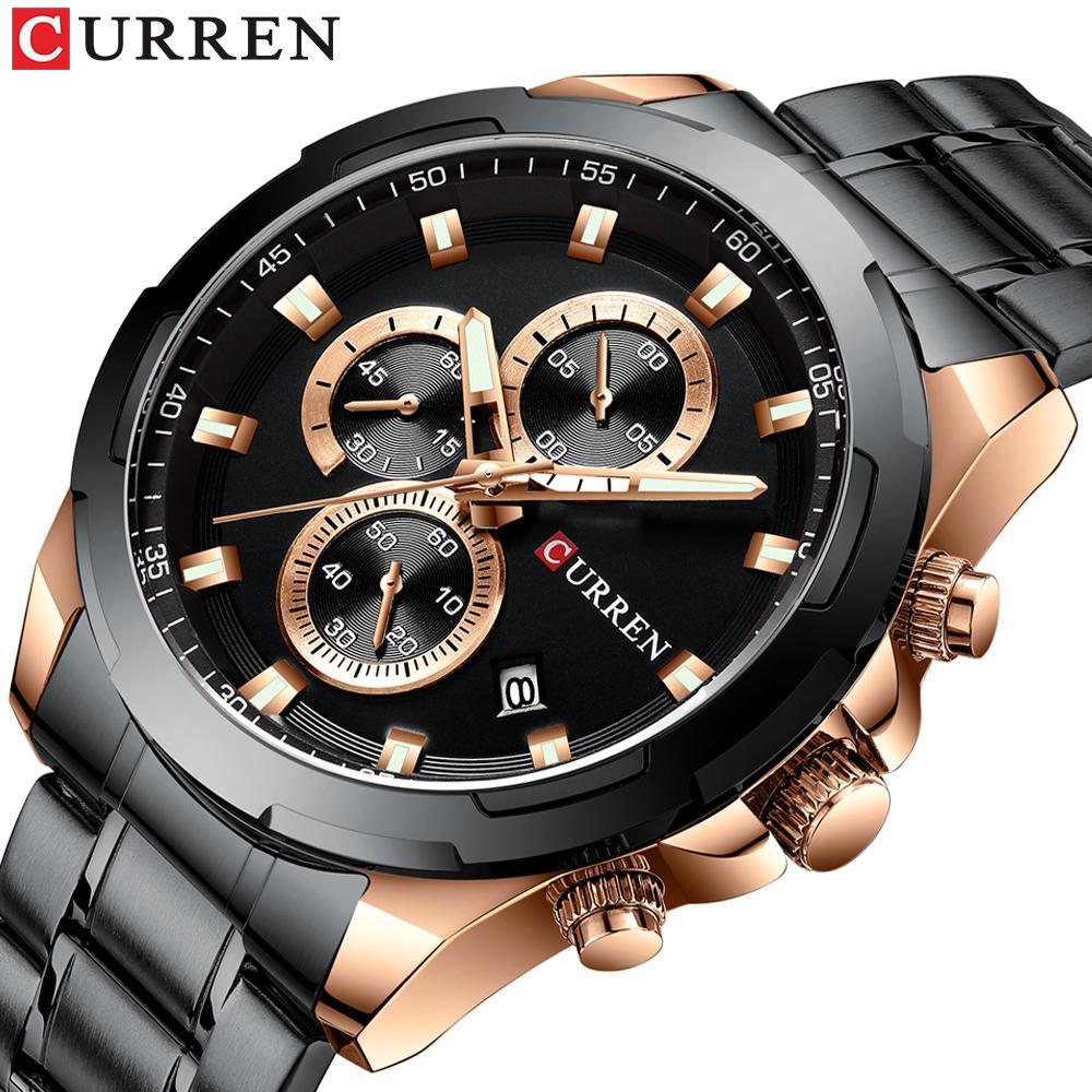 Orologio al quarzo di sport degli uomini di affari della fascia dell'acciaio inossidabile Cronografo Data Maschio CURREN guarda i regali Uomini Reloj Hombre
