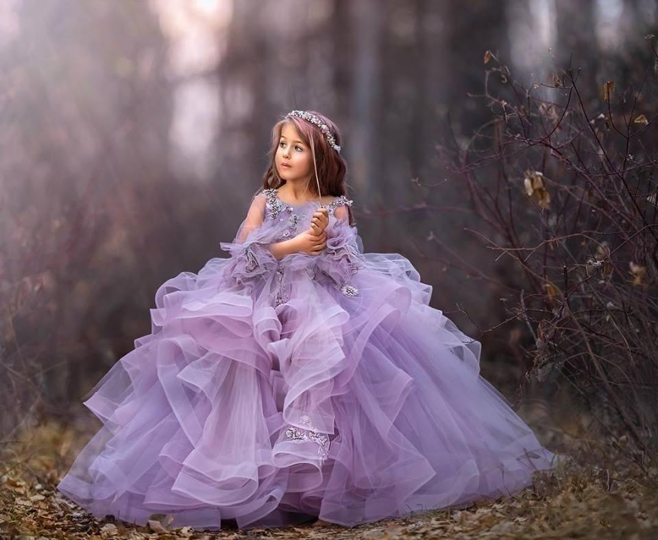 Pourpre robes fille fleur en organza de petites perles filles Pageant robes à manches longues princesse enfants Robes de mariage robes de demoiselle