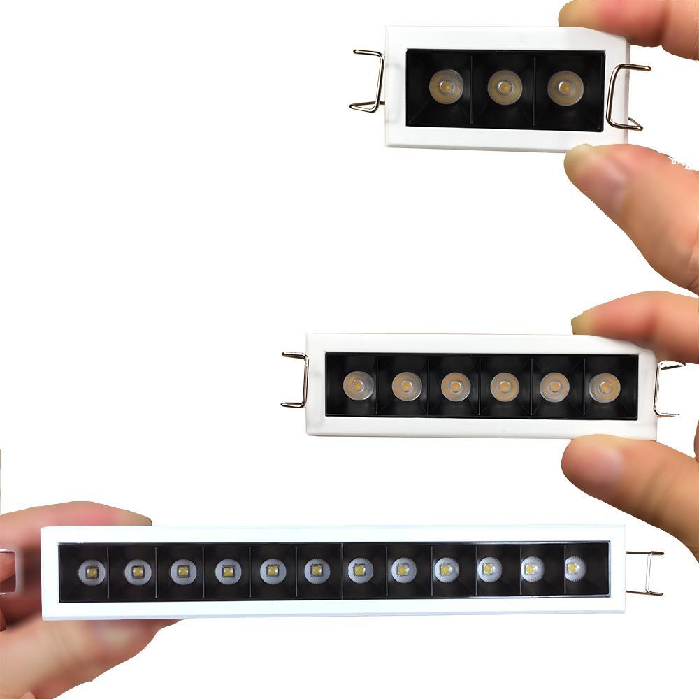 Commerce intérieur Noir Anty-à-l'œil Ombre 5W 9W 18W Slim Luminaire Dimmable LED linéaire intégré pour la maison Hotal Magasin