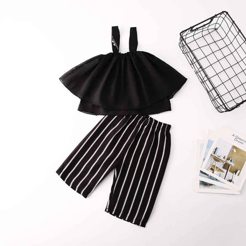 Kids Suits Fashion Girls Clothes Raglan Sleeve Striped Pants 2pcs Children Clothing Set for Girls 2019 New Summer Child Costume