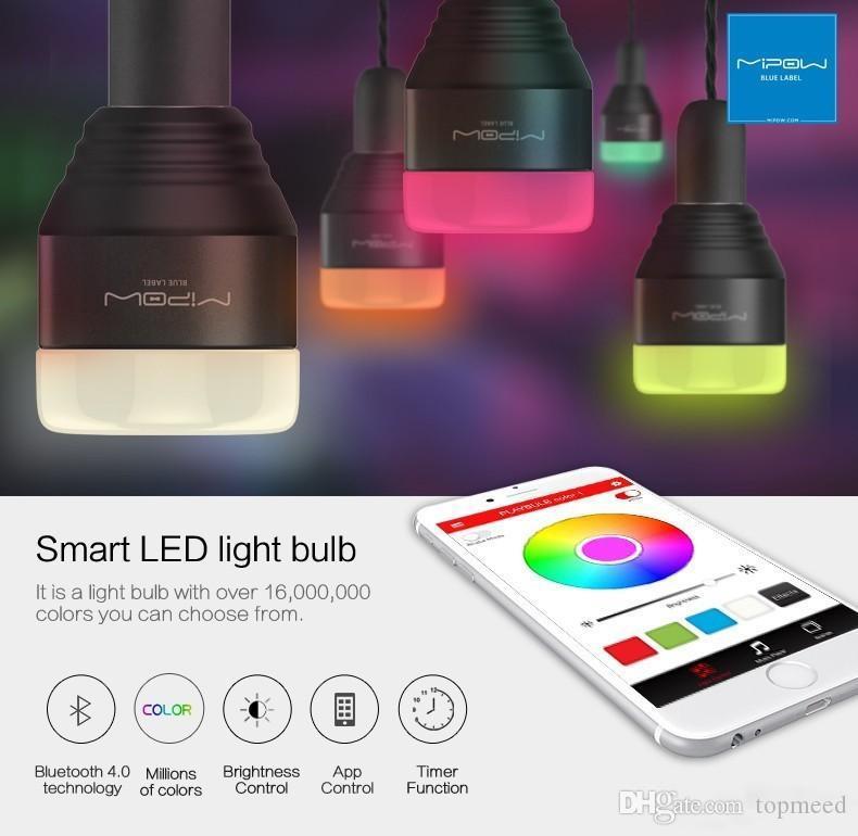 새로운 MIPOW 블루투스 스마트 LED 전구 APP 스마트 폰 그룹 제어 디 밍이 색상 변경 장식 파티 조명