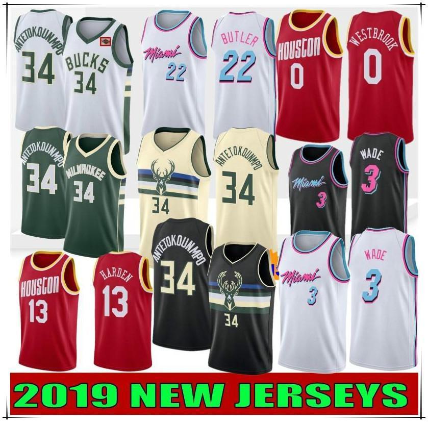 Yeni Sıcak NCAA Giannis 34 Antetokounmpo Erkekler Koleji Formalar Dwyane Wade 3 Jimmy 22 Butler Russell 0 Westbrook James 13 Harden Dikişlinba