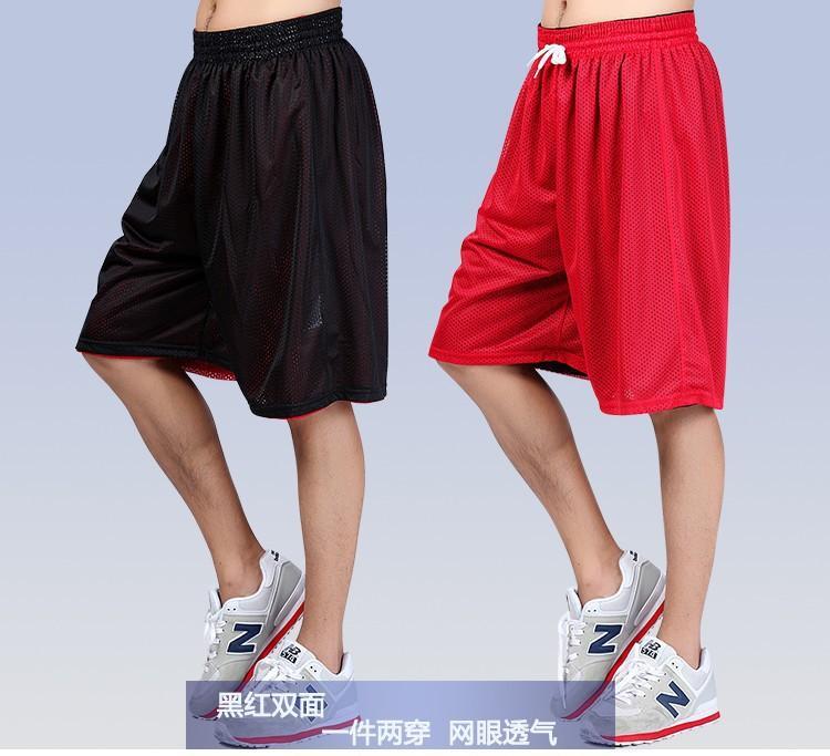 Estate Large Size over-the-knee pantaloni di pallacanestro Pantaloncini Allenamento pantaloncini da uomo Double-Sided Mesh traspirante brevi