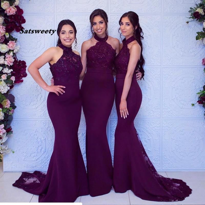 Sexy uva Mermiad Dama de honra vestido barato longo pescoço de noivos hóspedes convidado negro menina de casamento vestidos de festa de noite