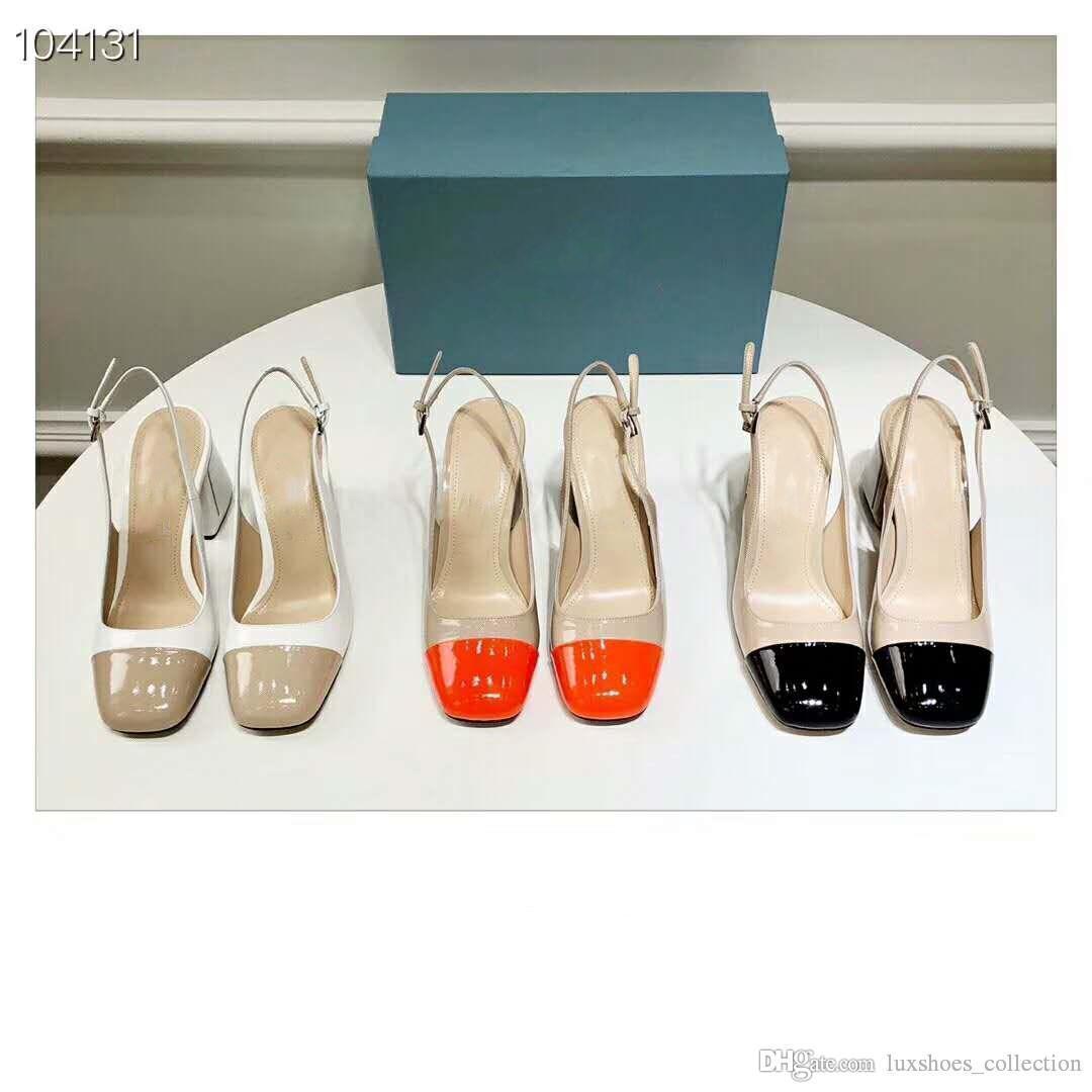 Lackleder Sandalen für die Dame im Frühjahr 2019 mit zwei Farben genäht Mode Sandalen, Heel mit Logo, heißen Verkauf in