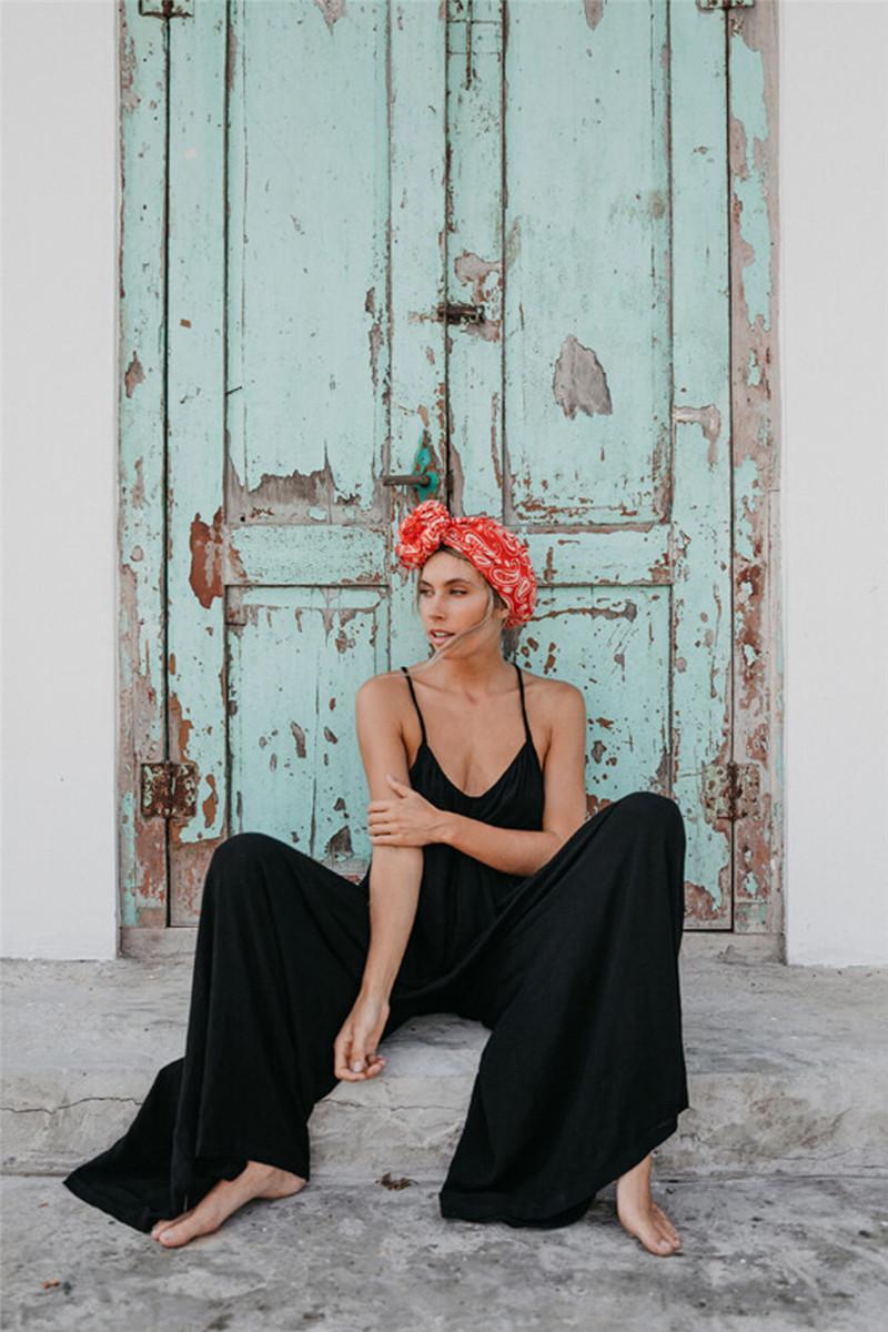 Tasarımcı Gevşek Tulumlar Seksi Blackless V-Yaka Tam Boy tulum Casual Doğal Renk Kolsuz Tulumlar Bayan Giyim Womens