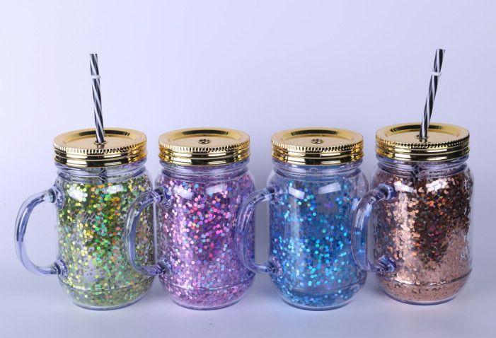 Le dernier adulte et enfants boissons à boire, couleur mixte créative grande poignée de boissons utilisent des gobelets de paille en plastique à double couche avec des paillettes,