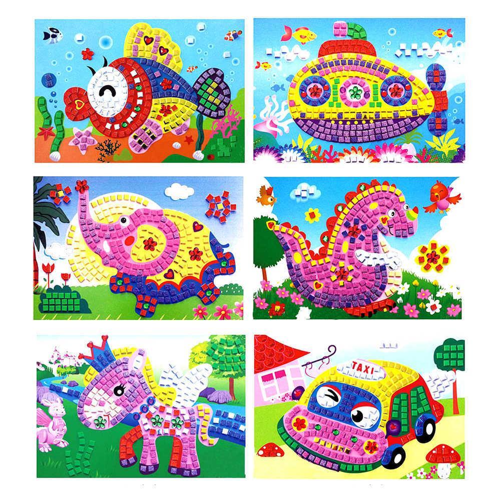 Mezcle al por mayor 12 piezas de mosaicos de espuma 3D Sticky Crystal Art Princess Butterflies Sticker Game Craft Kids Children Gift Desarrollo inteligente