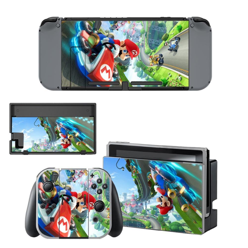 + Nintendo Anahtarı NS Konsol + Kontrolörü için Süper Mario Kart 8 Çıkartması Koruyucu Vinil Cilt Plaka Koruyucu Film Yuvasını Standı