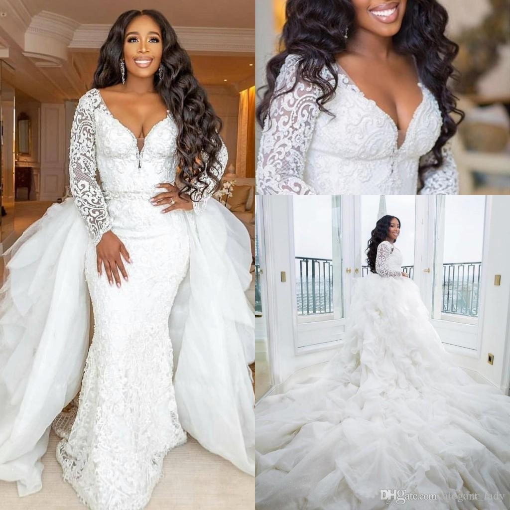 Vestidos de novia de sirena de talla grande con manga larga 2020 Moderno tren desmontable de encaje de encaje de perlas de jardín africano vestidos de novia