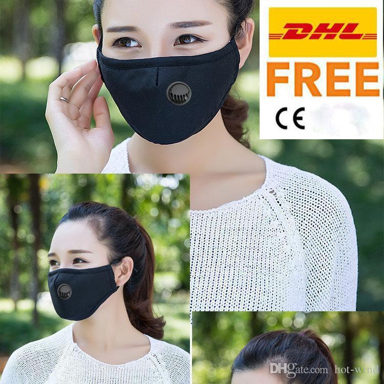 DHL PM2.5 입 마스크 반대로 먼지 전체가 금연 얼굴 마스크 조정가능한 재사용할 수 있는 인공호흡기 마스크와 함께 1 개의 여과기