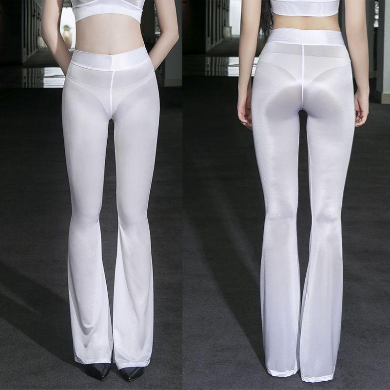 핫 섹시 밤 Clubwear 습식 봐 레깅스 높은 탄성 레깅스를 통해 오일 광택 반짝 플레어 팬츠 슈퍼 얇은 투명 참조