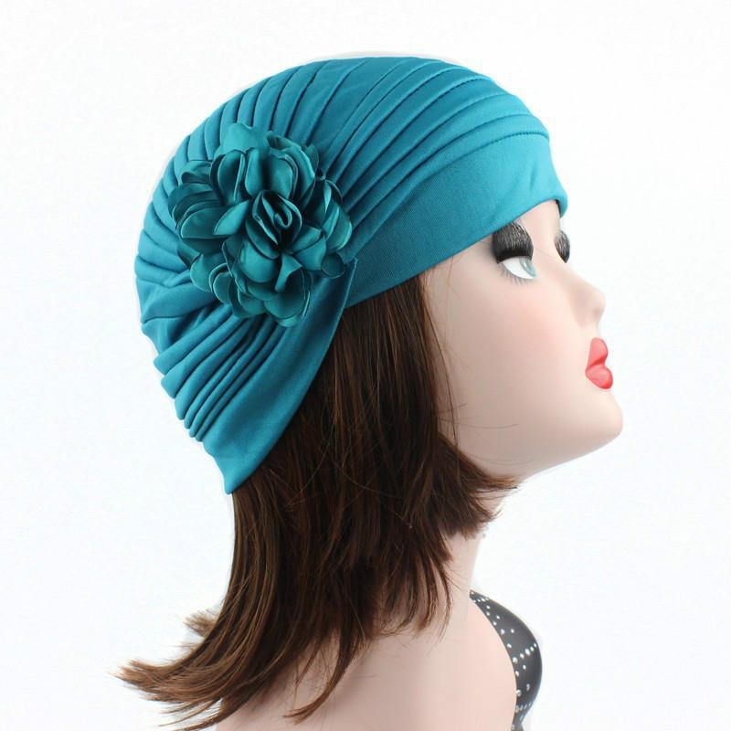 di tessuto elastico nuova donna Bella Fiore della testa del turbante della protezione del cappello Lady Accessori Capelli donne musulmane Hijabs della protezione della sciarpa 13 colori