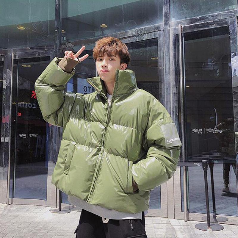 inverno homens jaqueta roupas de algodão homens de moda inverno quente emagrecer jaqueta de zíper casaco sólida