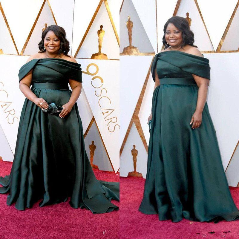 Dark Green 2020 Plus Size Prom Abiti sexy fuori dalla spalla abito da sera Lunghezza Piano formale Ospite party vestito dal tappeto rosso abiti