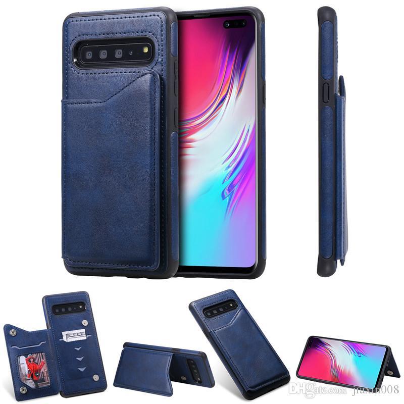 color puro de la PU billetera de cuero caja de la galaxia S10 para Samsung / ranura S10 S10 tarjeta a prueba de golpes S10E / 5G / pata de cabra Plus de teléfono de la contraportada