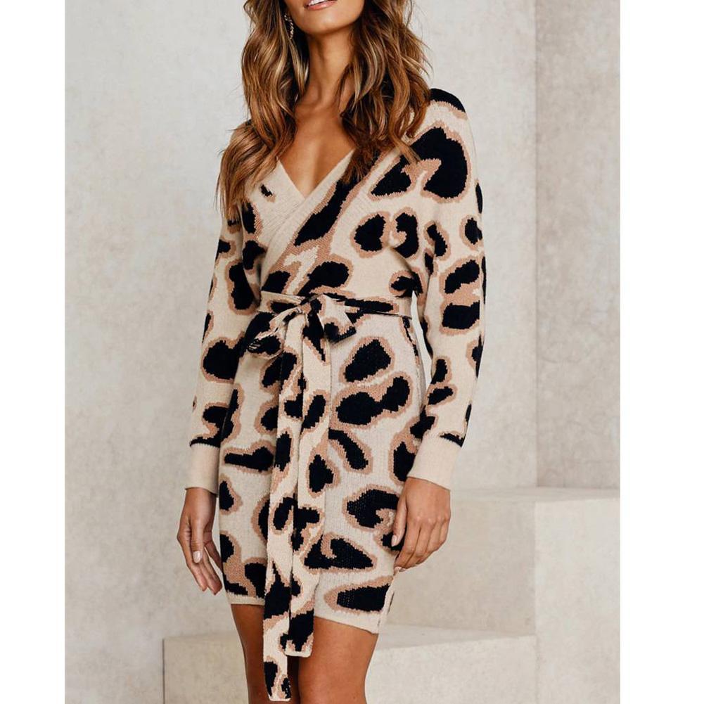 Las señoras forman el mini vestido ceñido de manga larga con cordones de la cintura del invierno del otoño del leopardo con cuello en V vestido sin espalda con cordones de Mujer Nueva