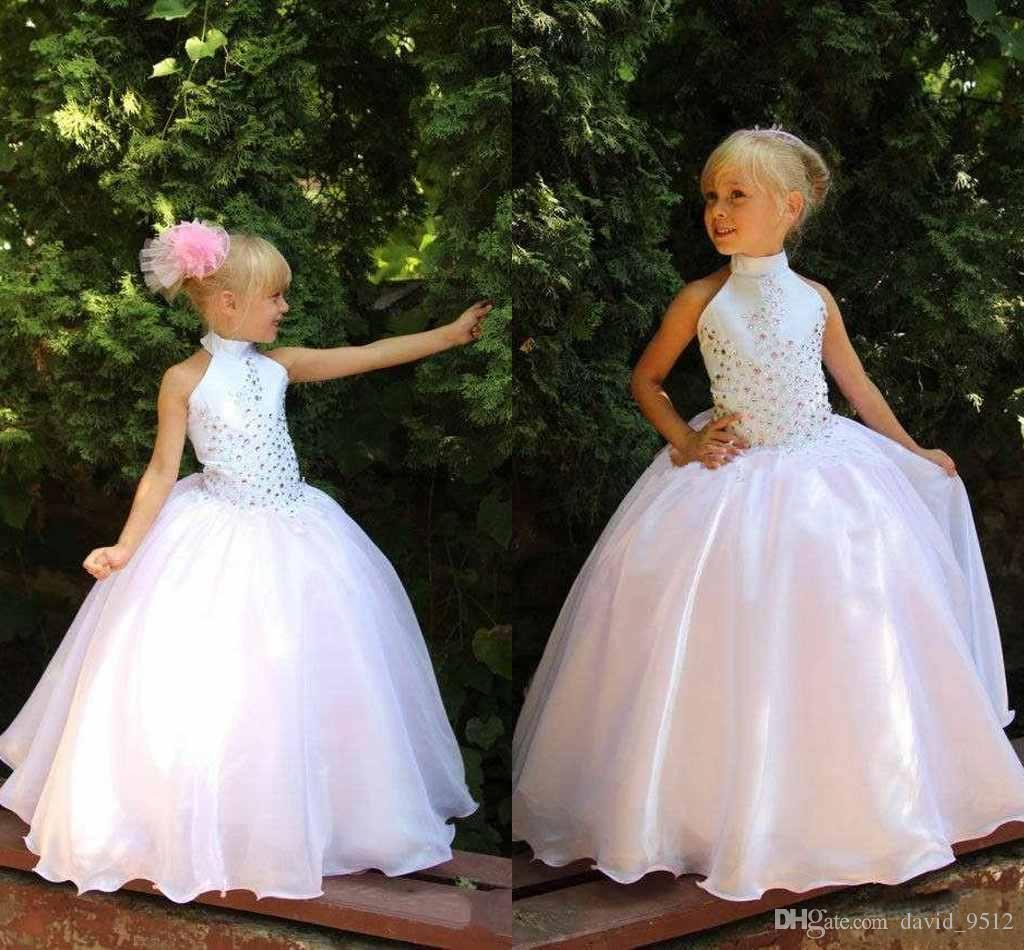 Robes de filles de fleurs mignonnes pour les mariages pas cher col haut filles pageant robes avec coloré strass princesse robes de soirée B12