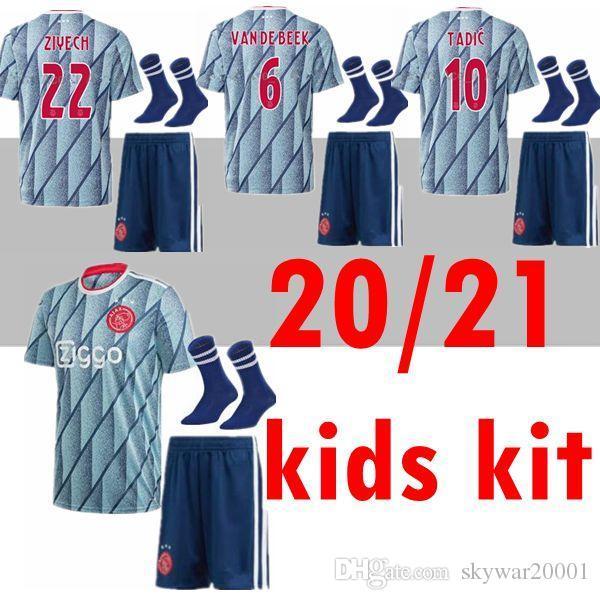 Acquista Nuova 20 21 Ajax Bambini Equipaggiarla Al Calcio Assente Jersey PROMES Ajax Amsterdam VAN DE BEEK 2020 2021 TADIC ZIYECH Maglia Da Calcio SET ...
