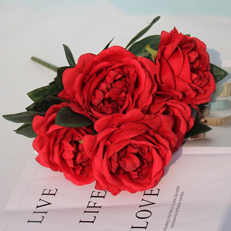 5 رؤساء محاكاة الفاوانيا زهرة الزفاف الديكور الزهور ترتيب الزهور الأقواس t منصة الطريق الرصاص باقة الحرير الاصطناعي